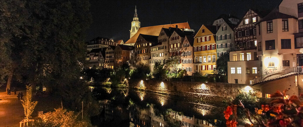 River Neckar, old town by night